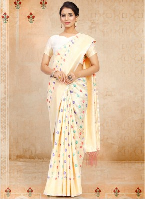Lovable Weaving Art Silk Off White Traditional Saree