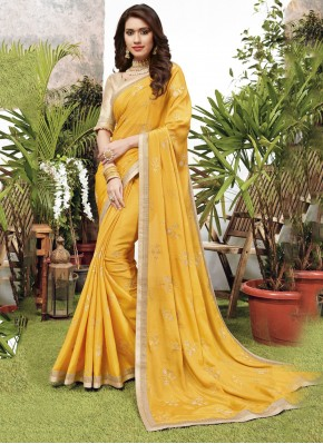 Lovable Yellow Embroidered Faux Chiffon Designer Saree