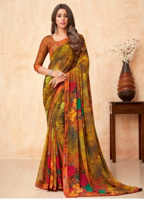 Lovely Faux Georgette Floral Print Multi Colour Casual Saree