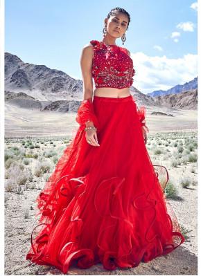 Lovely Red Color Fancy Fabric Designer Lehenga Choli