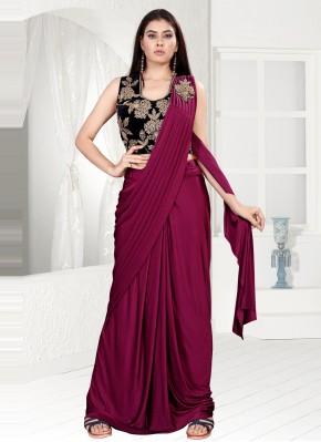 Lovely Sequins Magenta Lycra Trendy Saree