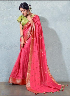 Lovely Silk Hot Pink Fancy Designer Traditional Saree