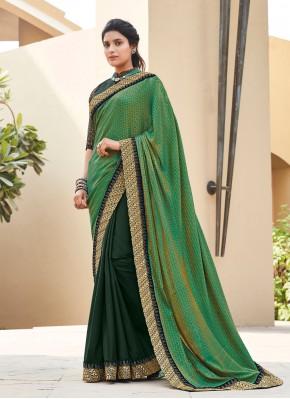 Lovely Silk Multi Colour Lace Classic Saree