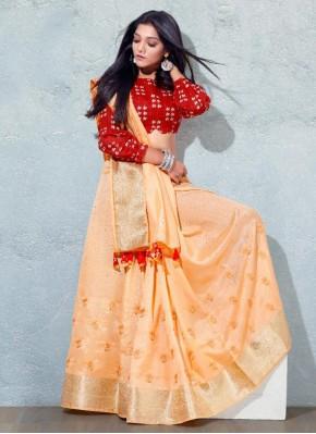 Lovely Silk Peach Designer Traditional Saree