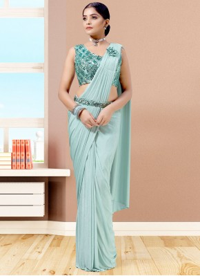 Lycra Fancy Designer Saree in Blue