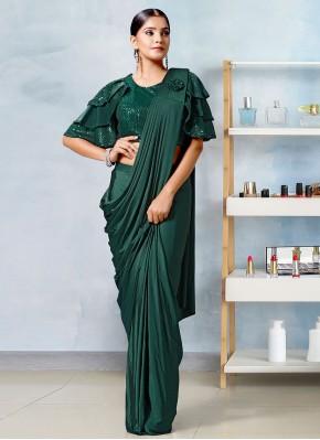 Lycra Fancy Designer Saree in Green