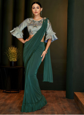 Lycra Green Classic Designer Saree