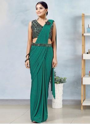 Lycra Green Designer Saree