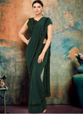 Lycra Green Designer Traditional Saree