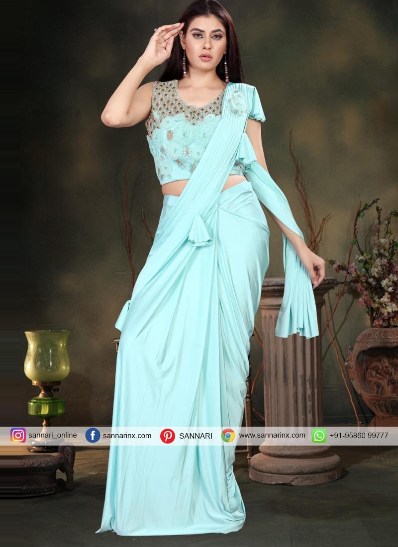 Lycra Handwork Turquoise Designer Saree