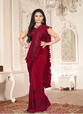 Lycra Maroon Sequins Classic Designer Saree
