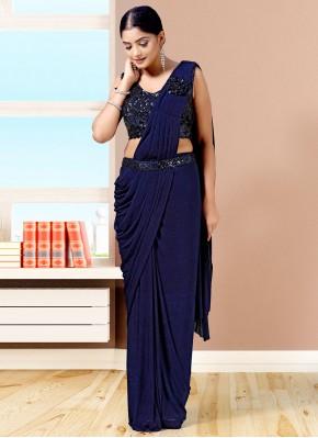 Lycra Navy Blue Fancy Designer Saree