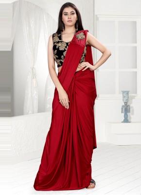 Lycra Red Classic Saree