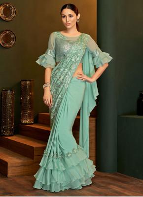 Lycra Sea Green Embroidered Trendy Saree