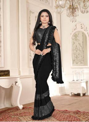 Lycra Sequins Black Classic Saree