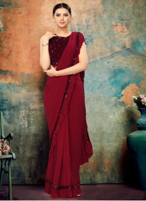 Lycra Sequins Maroon Bollywood Saree
