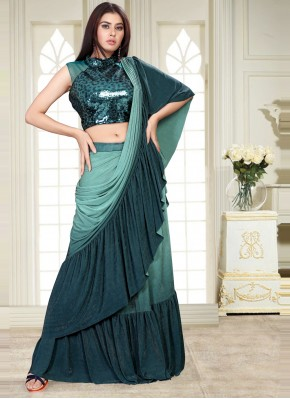 Lycra Sequins Shaded Saree in Sea Green