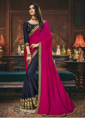Magenta and Navy Blue Silk Designer Half N Half Saree