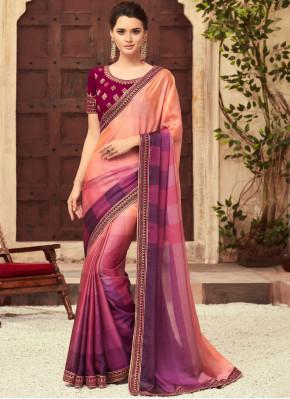 Magenta and Peach Art Silk Shaded Saree