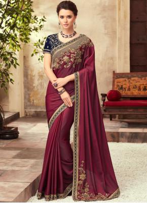 Magenta Art Silk Party Traditional Designer Saree