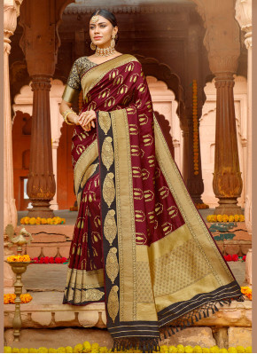 Magenta Festival Silk Silk Saree