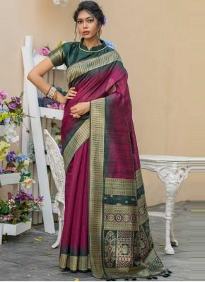 Magenta Festival Tussar Silk Traditional Designer Saree