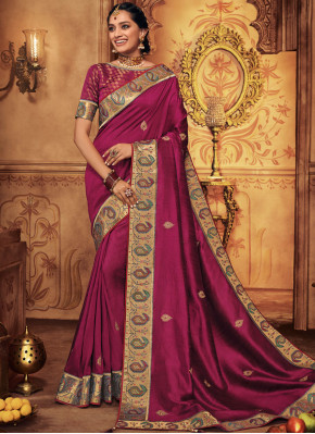 Magenta Patch Border Art Silk Traditional Saree