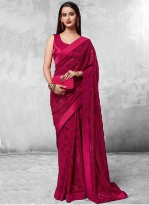 Magenta Sequins Designer Saree