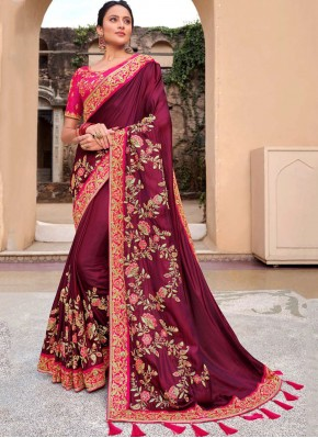 Magenta Viscose Embroidered Bollywood Saree