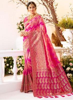 Magenta Weaving Reception Traditional Saree