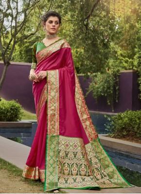 Magenta Woven Festival Designer Traditional Saree