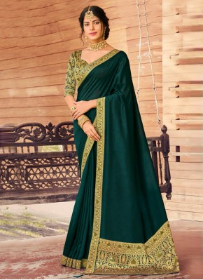 Magnetic Art Silk Patch Border Green Traditional Designer Saree