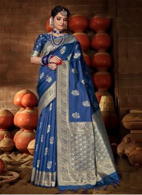 Magnetic Blue Banarasi Silk Designer Traditional Saree