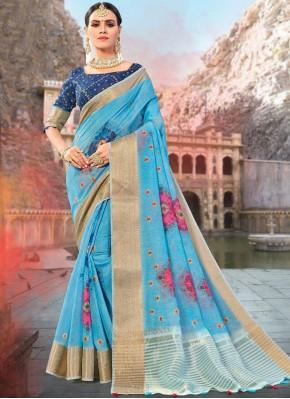 Magnetic Blue Ceremonial Designer Traditional Saree