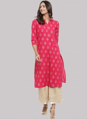 Magnetic Cotton Print Pink Party Wear Kurti