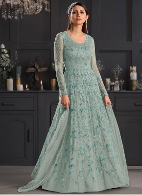 Magnetic Sea Green Engagement Anarkali Salwar Suit