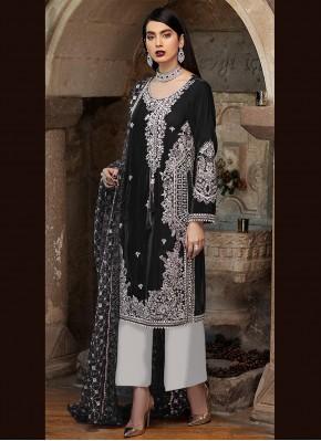 Magnetize Embroidered Black Faux Georgette Designer Pakistani Suit