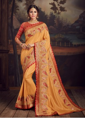 Magnetize Embroidered Poly Silk Mustard Traditional Designer Saree