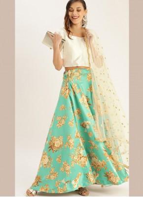 Magnetize Floral Print Satin Silk Green Designer Lehenga Choli