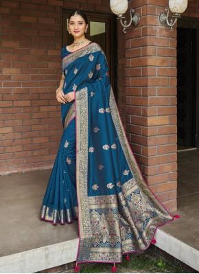 Magnetize Silk Blue Weaving Traditional Designer Saree