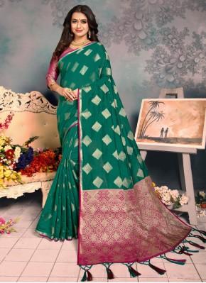 Magnetize Silk Weaving Green Classic Saree