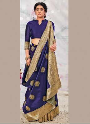 Magnetize Weaving Blue Traditional Designer Saree
