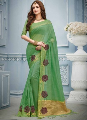 Magnificent Green Embroidered Cotton Classic Designer Saree