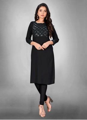 Magnificent Print Black Cotton Party Wear Kurti