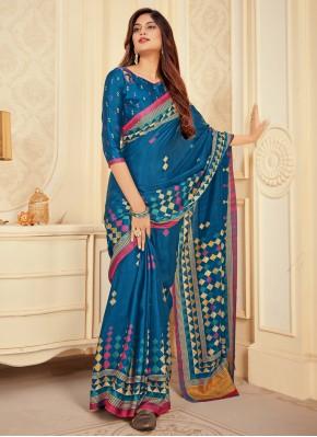Magnificent Satin Silk Printed Blue Traditional Saree