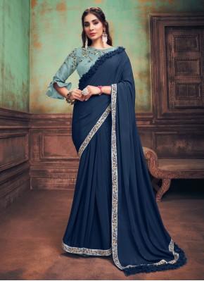 Magnificent Silk Turquoise Designer Saree