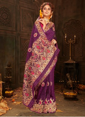 Magnificent Weaving Purple Banarasi Silk Designer Saree