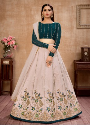 Majestic Art Silk Beige Sequins Lehenga Choli