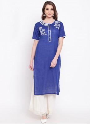 Majestic Cotton Blue Print Party Wear Kurti