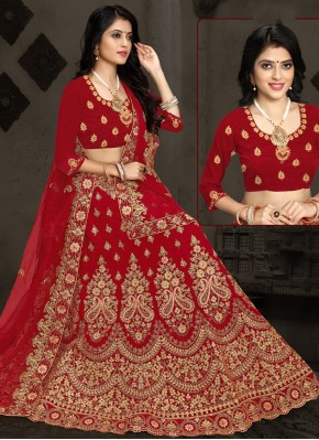 Majestic Embroidered Maroon A Line Lehenga Choli